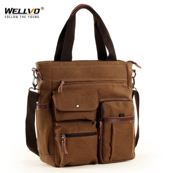 Men Large Canvas Tote Waterproof Crossbody Bags For Women Multi-functional Casual Laptop Business Retro Messenger Bag Xa129zc Y19061903