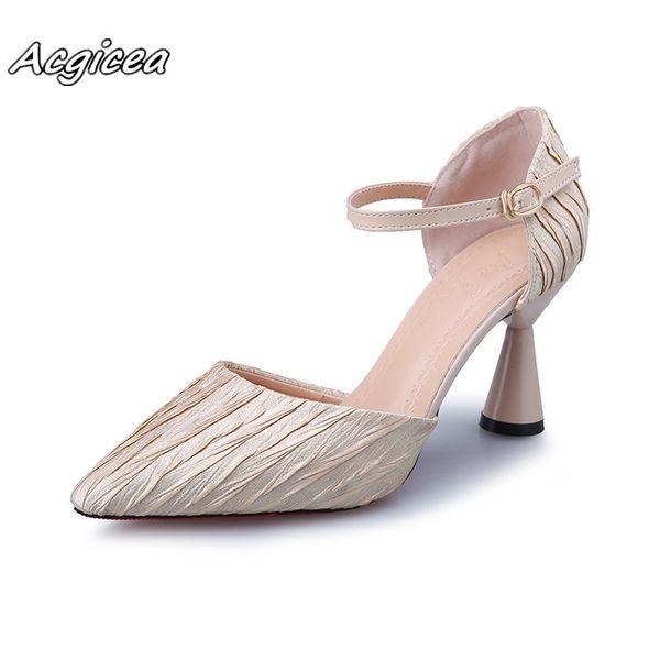 Großhandel Frühling Sommer High Heels Kleid Schuhe Plissee Leder Pumps Schnalle Frauen Schuhe Wein Tasse Sandaletten Zapatos Mujer A113 Von Deals888,
