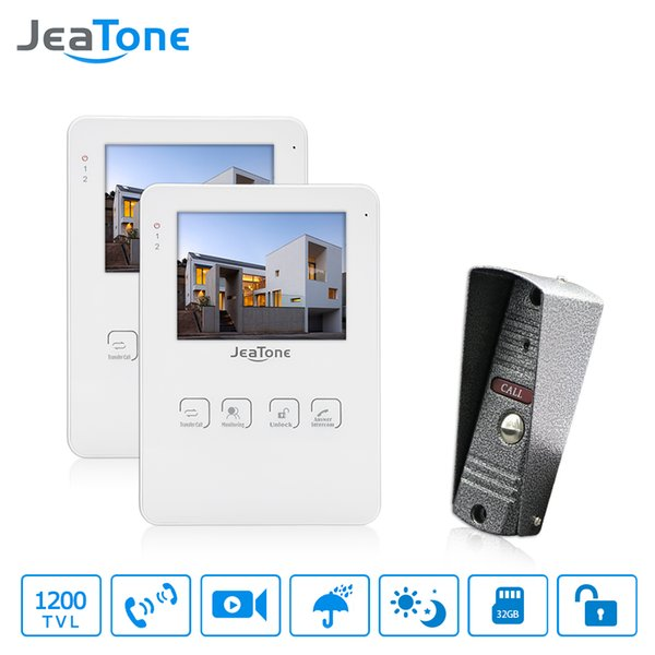 """JeaTone 4"""" Wired Video Door Phone Intercom LCD Touch Key Monitor Home Security Doorbell System Night Vision 1200TVL High Resolution 1w2"""