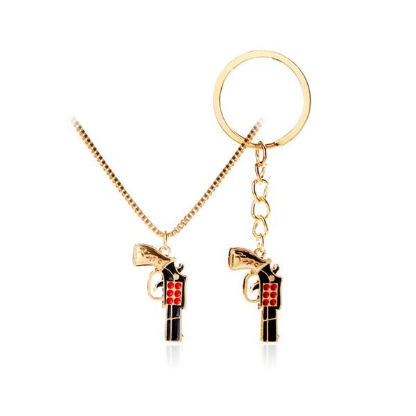 Altın Tabanca Gun Kolye anahtarlık Anahtarlık Kadın Erkek moda Hip Hop Takı DAMLA GEMI için 161869