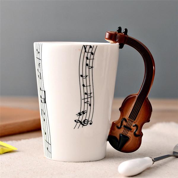 Nouveauté Guitare Céramique Tasse Personnalité Note De Musique Lait Jus Citron Tasse Café Tasse À Thé Home Office Drinkware Cadeau Unique