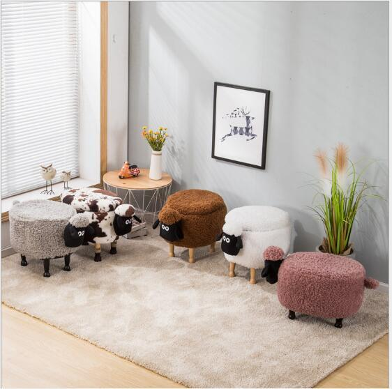 top popular Storage Stool Shoes Little sheep Changing Living Room Sofa Foot Chair Cloth Package Wooden Modern Stools New Arrival Furniture 2021