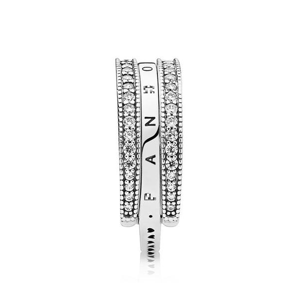 New Flipping Emblem Pure Silver Simple Charming Heart S925 Anello in argento sterling Misura gioielli pandora con borsa originale