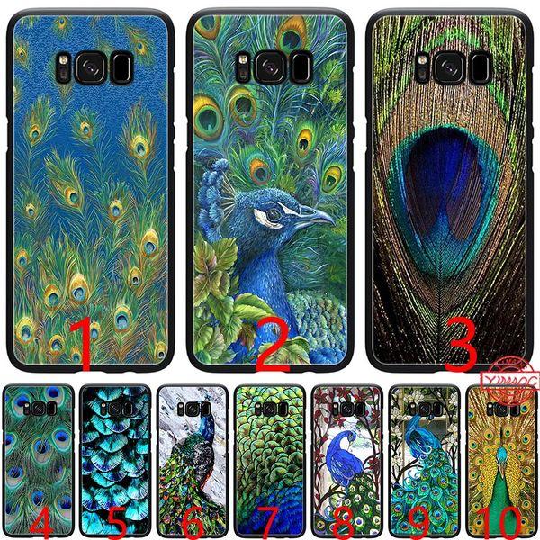 Pretty Peacock Scenery Soft Silicone Black TPU Phone Case for Samsung A3 A5 2016 2017 A6 Plus 2018 Cover