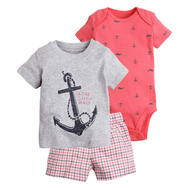 Baby Boys Archor Conjuntos de ropa Camiseta Mamelucos Tops Pantalones 0-2 años Boutique Ropa para niños Trajes de manga corta K5250