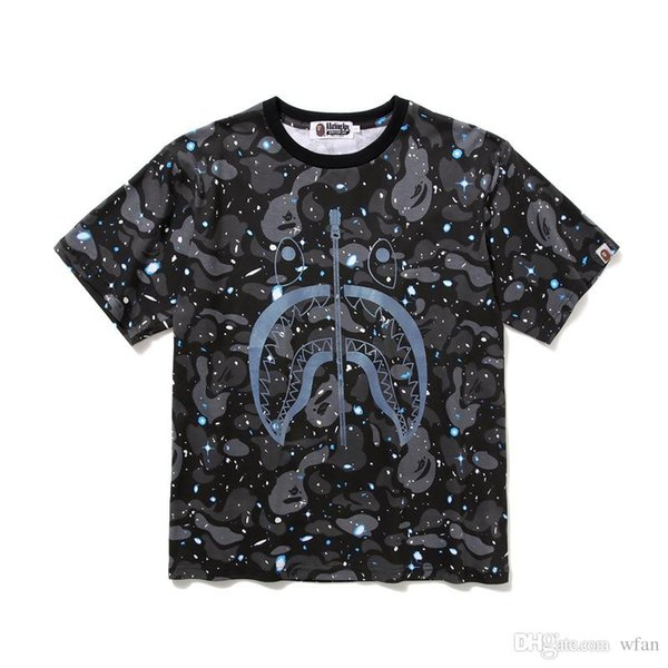 2019 Wholesale Summer Lover Cartoon Print Black White Camo T-shirts Men's Personality Casual Hip Hip T-shirts Sizes M-2XL