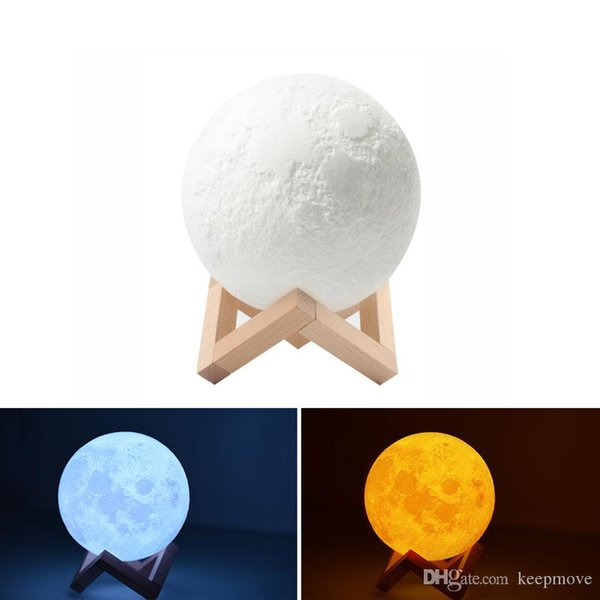 USB Rechargeable 3D Printing Moon Lamp Dimmable Touch Switch Luna Moon Light Color Brightness Adjustable LED Night Light With Wooden Mount