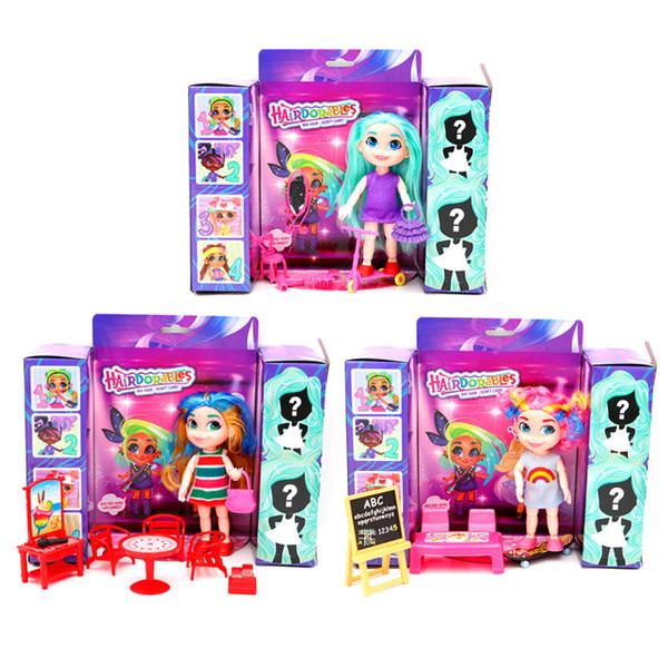 3 unids / lote belleza del cabello sorpresa muñecas para niñas juguetes divertidos regalos de los niños muñecas educativas figura de acción populares juguetes para niños