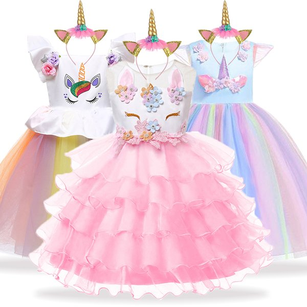 Unicorn Party Kids Dresses For Girls Elegant Princess Dress Children Girls Costume Cinderella Snow White Dress fantasia infantil
