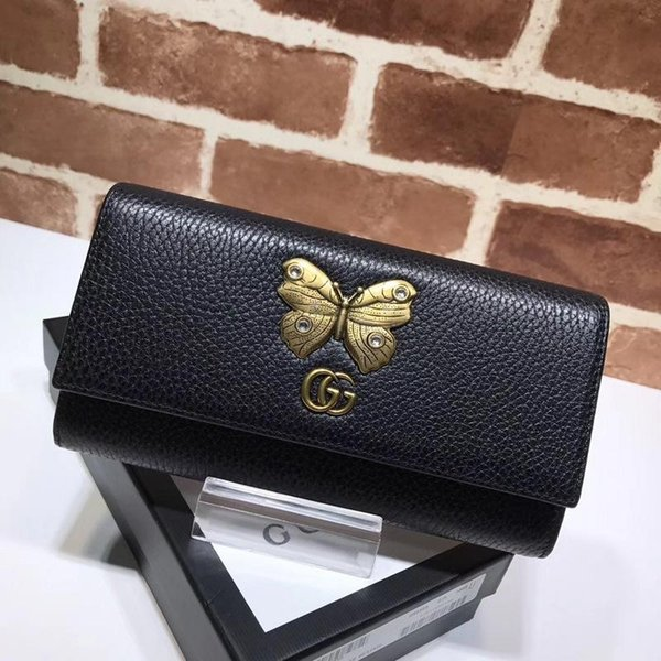 Top Quality 2019 Celebrity Design Letter Butterfly Insect Metal Buckle Two Fold Wallet Long Purse Cowhide Leather 499359 Clutch