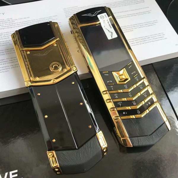 top popular New Arrive Luxury Gold Signature Cell phones dual sim card Mobile Phone stainless steel leather body MP3 bluetooth 8800 metal Ceramics back Cellphone 2021
