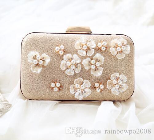 Factory sales of heavy chain jewel studded Hand Bag Handmade Diamond Dress Evening Bag beautiful Camellia Camellia party shoulder bag