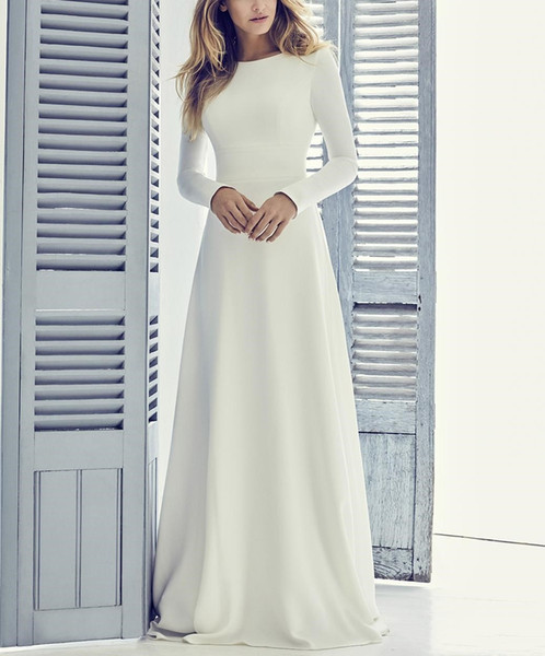 Crepe A-line Long Modest Wedding Dress With Long Sleeves Jewel Neck Coverd Back Short Train Women Informal Modest Bridal Gown3