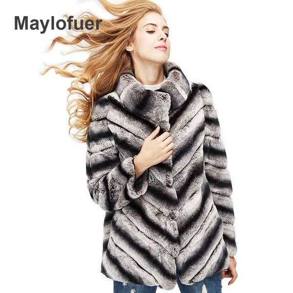 hot sale women real natural rex rabbit fur coat high quality 100% genuine rex rabbit fur chinchilla color winter jacket 70cm