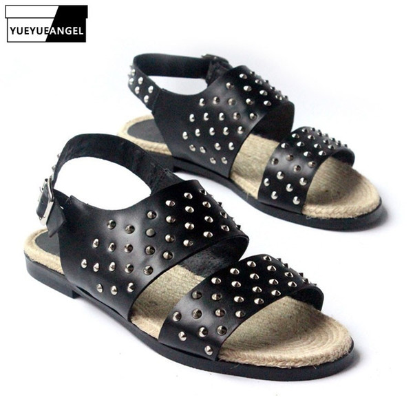 Mens Boys Gladiator Punk Summer Leather Sandals Buckle Casual Shoes