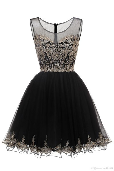 Cheap Short Homecoming Dresses Tulle with Gold Lace Applique Cocktail Party Dresses Crystal Beaded Sweet 15 16 Birthday Prom Dresses