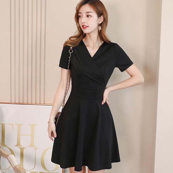 Compre 2019 Moda Coreana Vestido Negro De Verano Casual De Manga Corta Vestido De Cintura Alta Elegante Streetwear Vestidos De Dama Vestidos A 2233