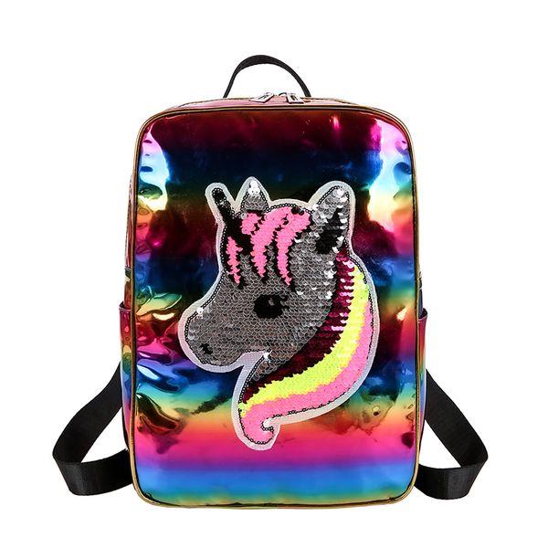 Zaino riflettente di tendenza per le ragazze Sequins Unicorn Patterns Zipper Back Pack per Ladies Women Casual School bag Drop Shipping