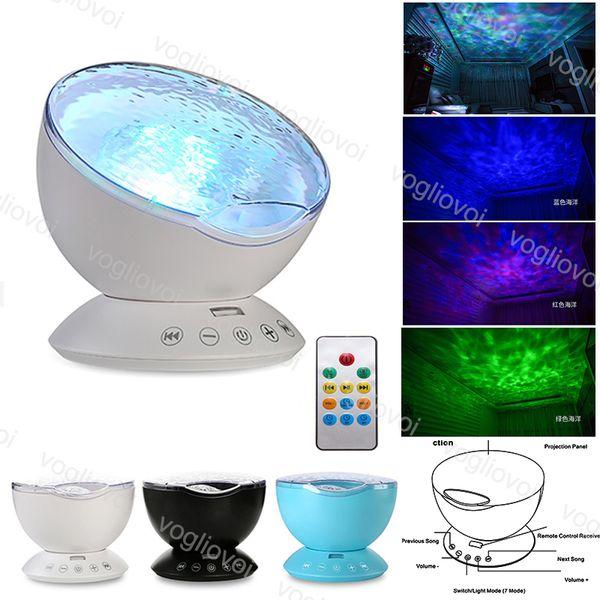 Projector Luz Noite 12LED Ocean Wave Starry Sky Lamp novidade com leveza ajustável Remote Control Temporizador 8 Modos de Música Light Show DHL