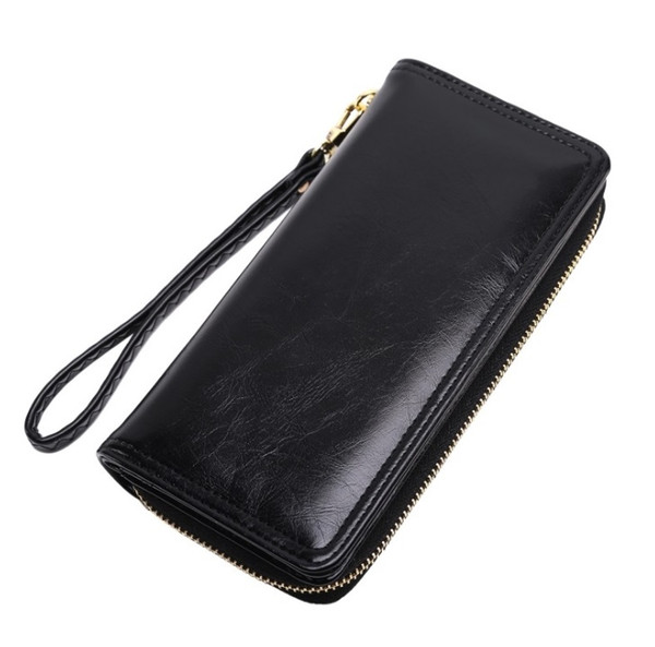 5 color hot designer luxury handbag wallet oil wax leather wallet retro oil skin phone bag long zipper coin bag women's card package