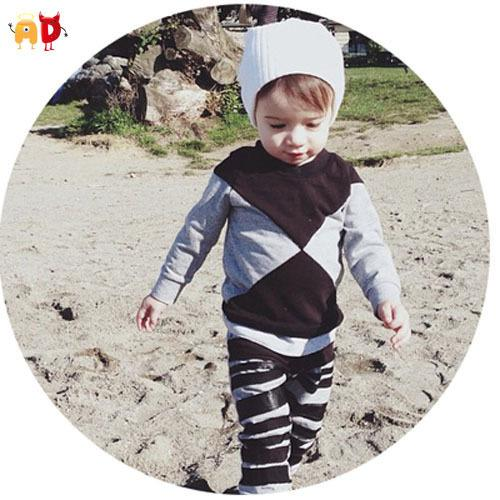 good quality Fashion Baby Boys T-shirts for Spring Autumn 100% Cotton Gray Black Spliced Tops Children's Clothing and Accessories