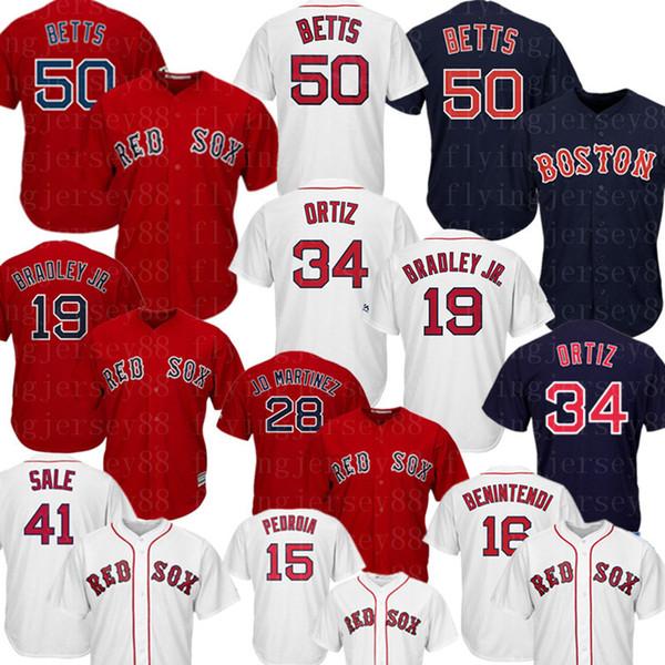 Boston 50 Mookie Betts Red Sox Jersey Andrew Benintendi 34 David Ortiz 9 Ted Williams JD Martinez Dustin Pedroia Jerseys