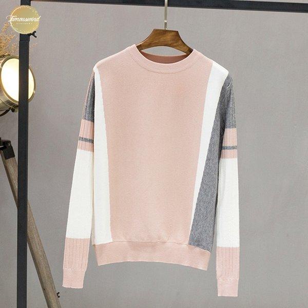 Inverno Autunno Donne Maglione Contrasto Colore del ponticello del pullover a maniche lunghe Pull maglia delle parti superiori Outwear O-Collo Femme