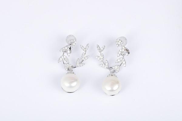 Новый дизайнер стерлингового серебра 925 серьги элегантный пресноводный жемчуг CZ женщины Eearrings партия свадебные украшения модные аксессуары Подарок