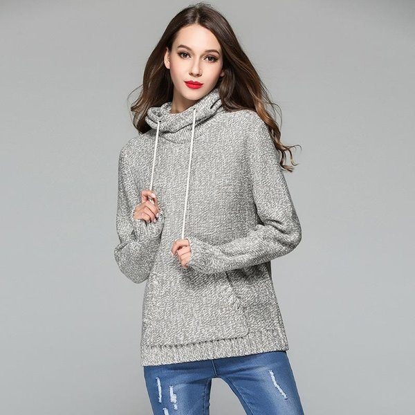 18-19 Casual Thick Long Sleeve Winter Knitted Sweater Solid Gray Party Club Clothing Women Fashion Pullovers Sweaters Jumper Hoodies Pocket