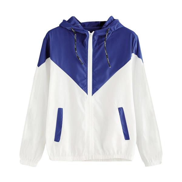 Blue Women Basic Jacket Female Zipper Pockets Casual Long Sleeves Coats Autumn Hooded Jacket Two Tone Windbreaker Z30717