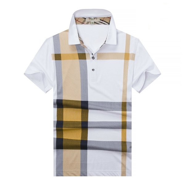 Men's Casual Lapel T-Shirt Contrast Color Stitching Stripe Plaid Red, Yellow and Blue Tricolor Upper Body Handsome Fabric Comfortable Skin
