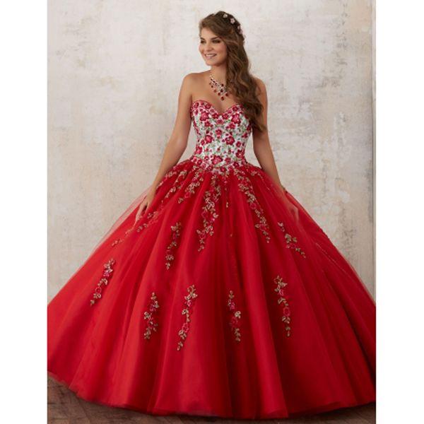 Вышивка Красный Quinceanera платья 2019 бисером Кристалл тюль платья 15-летняя дебютантка милая шеи Vestidos De 15 Anos