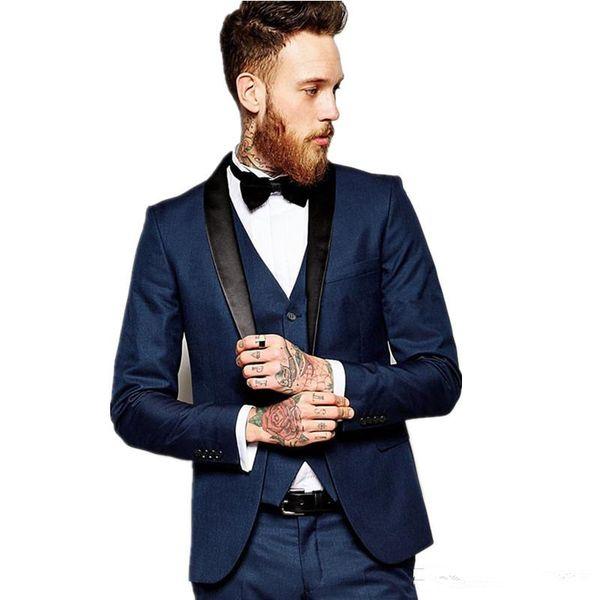 Tuxedos Mariage Homme Velours Revers Un Bouton Gux Tuxedos Hommes Dîner / Robe Darty Costume 3 Pièces (Veste + Pantalon + Cravate + Gilet)
