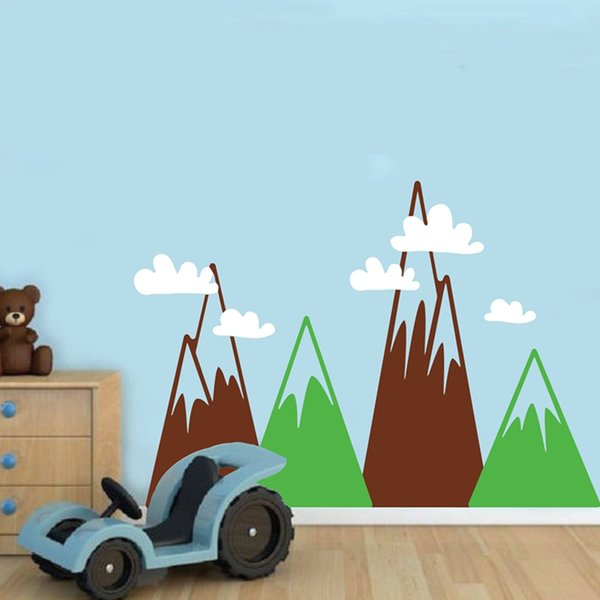 Triangle Mountains Wall Art Decal For Kids Room , Large Size Mountains With Clouds Vinyl Wallpaper Wall Sticker Nursery Decor