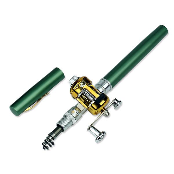 Portable Mini Fishing Pole Set Pocket Pen Shape Folded Fishing Rods Kit with Reel Wheel