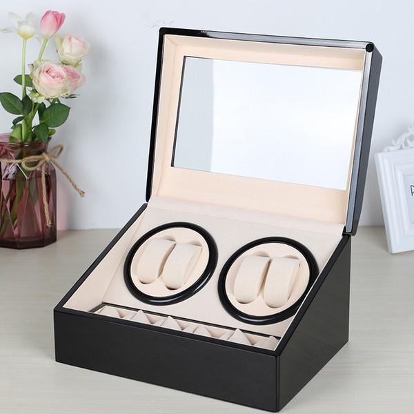 US / EU / AU / Regno Unito Spina automatica degli orologi meccanici Avvolgitore Scatola di immagazzinaggio Custodia Titolare 4 + 6 Collezione Orologio Display gioielli nero