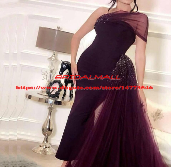 One Shoulder Crystal Tulle Burgundy African Evening Dresses 2019 Sexy Arabic Formal Dress Detachable Train Mermaid Prom Dress Robe de soiree