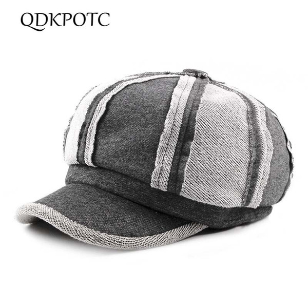 QDKPOTC 2018 Autumn And Winter Woman Hat Man Flat Girls Newsboy Hat Female Artist Stitching Felt Brim Hats Beret Caps