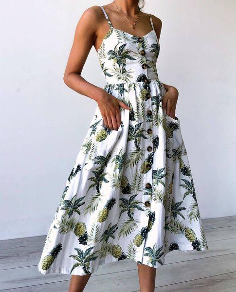 Women Clothes Sunflower Large Size Floral Print Pineapple Pattern Print Designer Dress Suspender Button Back Sexy Dress 33 Color 6 Yard