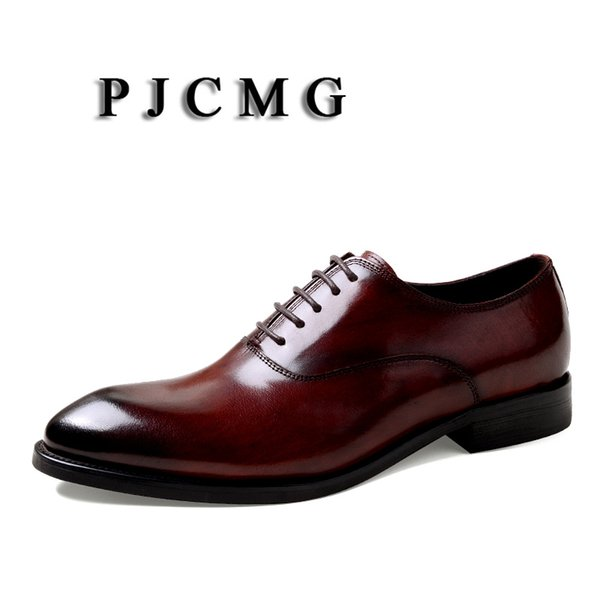 PJCMG Fashion Men Oxford Wedding Male Lace-Up Pointed Toe Solid Carved Office Genuine Leather Formal Mens Dress Shoes