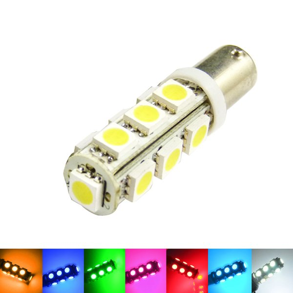 50pcs 7-couleurs BA9S T4W 1895 5050 13SMD 13LED lampe côté voiture LED ampoules porte lumière 12V # 3411