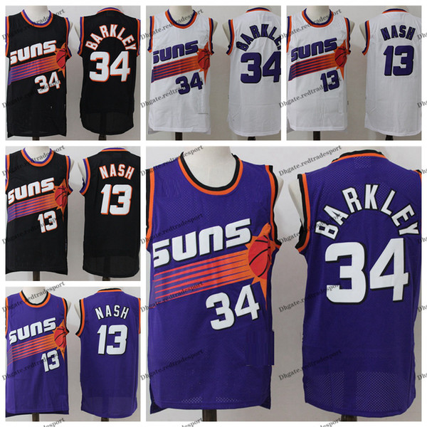 detailed look 048ab 04aba 2019 Vintage Mens #13 Phoenix Steve Nash Charles Barkley Suns Basketball  Jerseys Cheap Black #34 Steve Nash Charles Barkley Stitched Shirt S XXL  From ...
