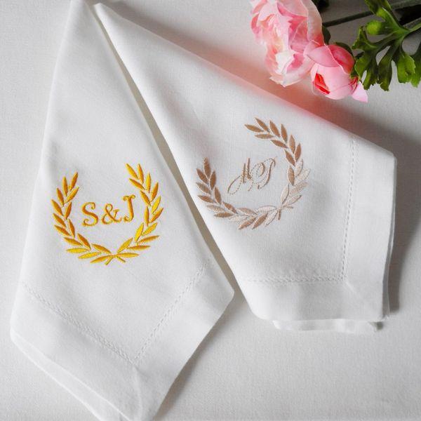 best selling Personalized Napkins Custom napkins Embroidered Cloth Napkins Wedding Gift Monogrammed Napkin Creative Wedding Dinner Hotel Napkin
