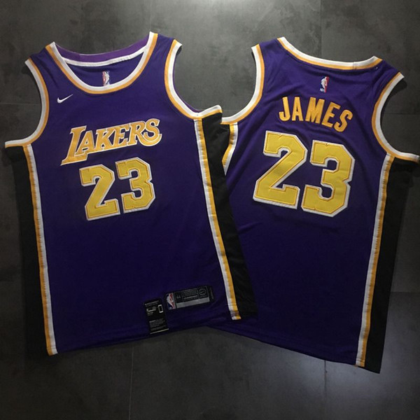 newest 143aa a53d6 2019 2019 Men LeBron James Road Purple Swingman Jersey High Quality Los  Angeles Laker LeBron 23 James Basketball Jersey Dense Embroidery From ...