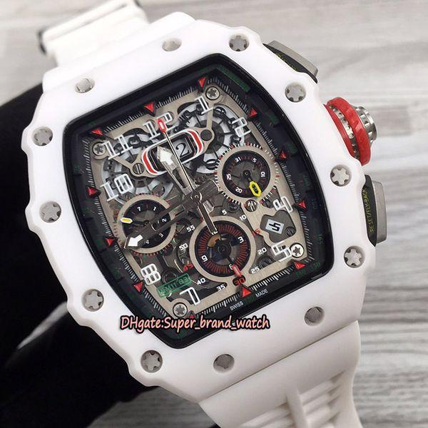 Mejor Nueva versión RM 11-03 cerámica Caso Flyback Chrono dial esquelético de goma relojes deportivos de lujo Miyota mecánica RM11-03 para hombre relojes deportivos
