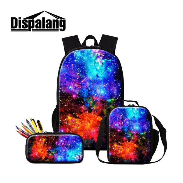 Galaxy School Backpack Cool Messenger Lunch Pouch Girls Bookbag Printed Schoolbag Day Pack Insulated Cooler Bag for Children