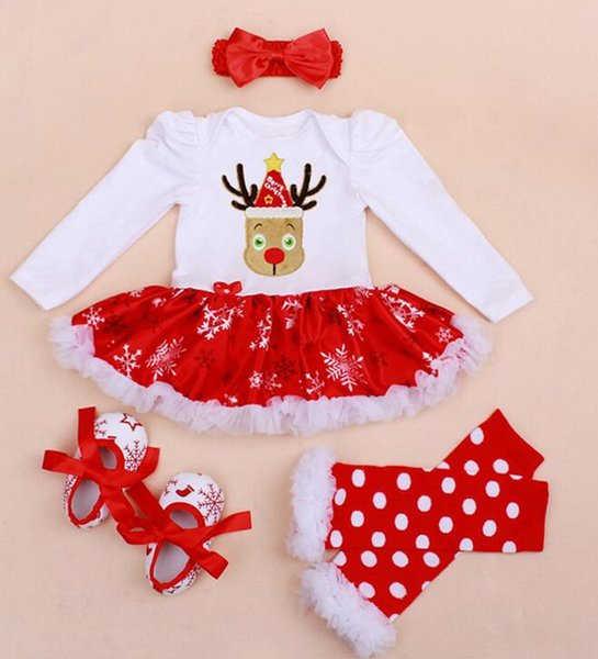 Infant Baby Girl Summer Long Suit Novelty Costume Baby Christmas Clothing Sets Santa Rompers Birthday Party Cosplay Gift 4color Y19050602