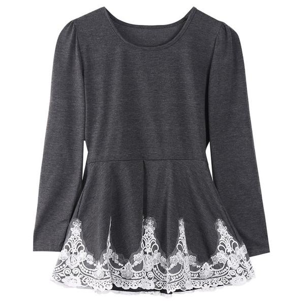 Yeni Moda Kadınlar Uzun Kollu Sıcak T-Shirt Tatil Rahat Parti Dantel Gevşek Pamuklu Tişört AU Tops