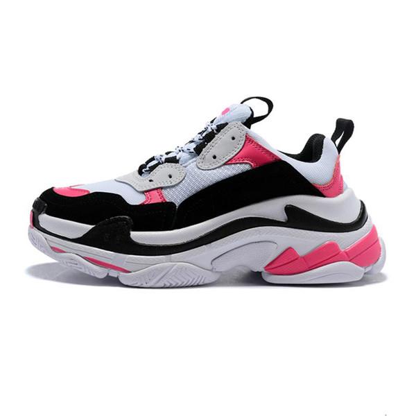 2019 moda paris 17fw triplo-s casual rosa preto branco pai mulheres sapatilhas dos homens tênis tênis esportes designer de luxo homens tênis tamanho 36-45