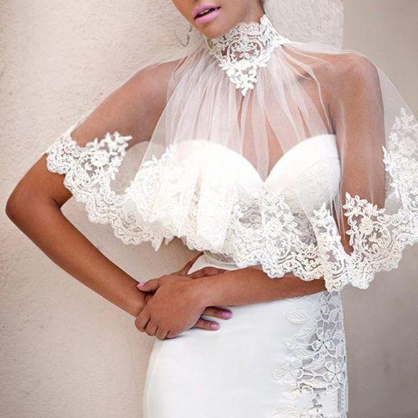 High Quality Elegant Ivory High Neck Applique Lace Cover Ups Bridal Bolero Vintage Beach Wedding Shawls Capelets Wedding Accessories